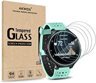(Pack of 4) Tempered Glass Screen Protector for Garmin Forerunner 235 225 620 220, Akwox [0.3mm 2.5D High Definition 9H] P...