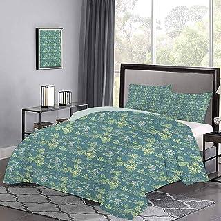 Juego de colcha de, follaje de color pálido con tallos rizados, ilustración abstracta de la naturaleza, funda nórdica súper suave y hace que tu cama sea aún más acogedora, verde pálido, verde azulado,