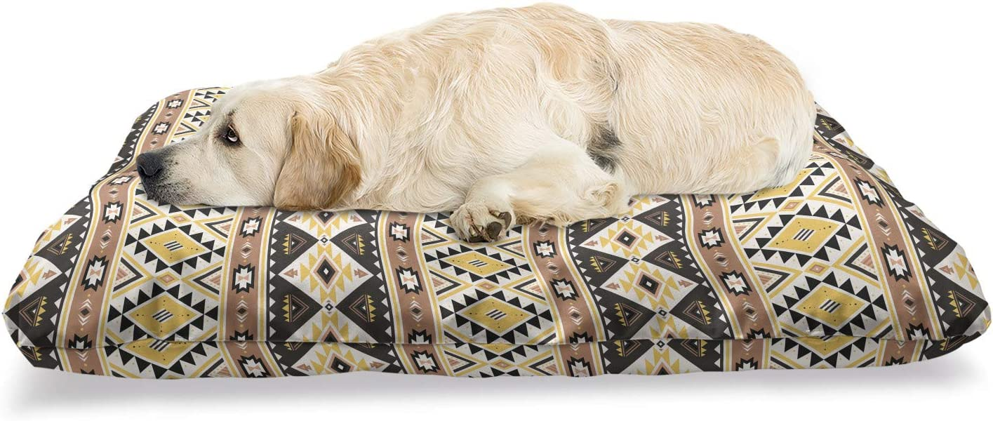 Ambesonne Limited time cheap sale Aztec Pet Bed Rhythmic Los Angeles Mall Lines Geometric and Triangles