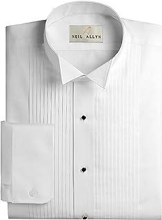 "NEIL ALLYN Men's Slim FIT Wing Collar 1/4"" Pleats Tuxedo Shirt-M-34-35 White"