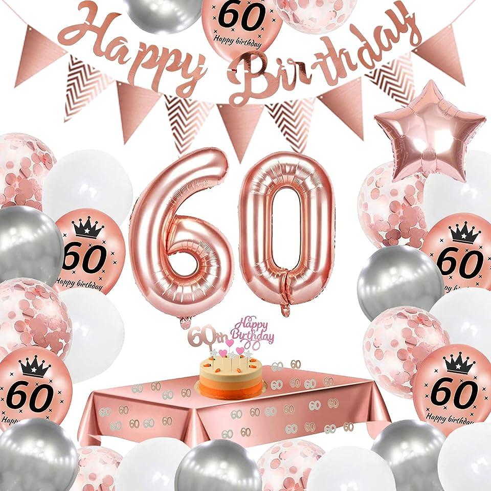 60. Geburtstag Dekoration,60 Geburtstag Deko Roségold Fraun, Konfetti Luftballons Number Folienballon 60 Luftballons,Happy Birthday Banner,Geburtstagsdeko 60 Jahre für Frau