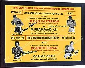 S&E DESING Muhammad Ali Roberto Duran Floyd Patterson Carlos Ortiz Signed Retro Poster Framed