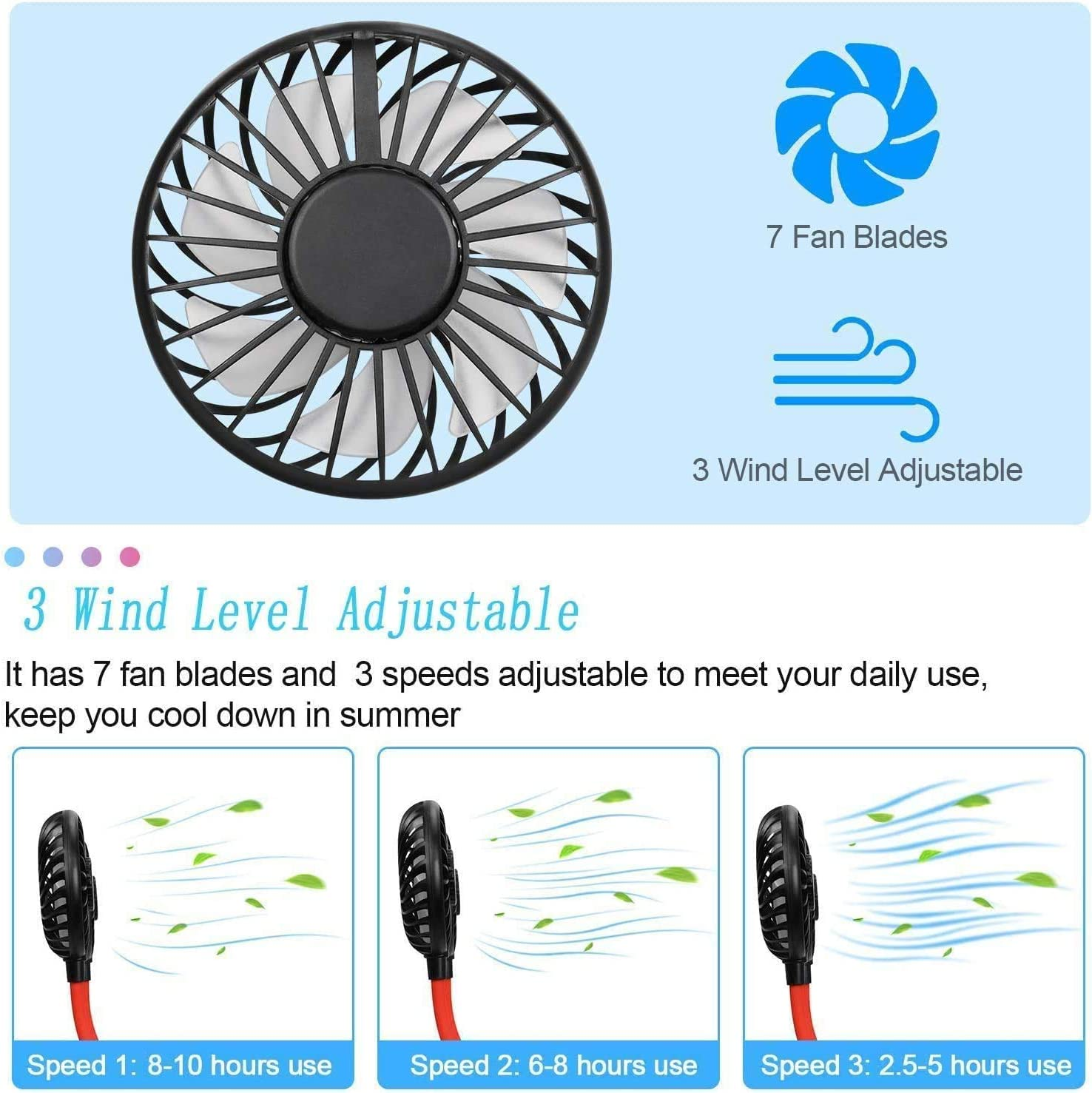 Personal Sport Neck Fan Portable, XUNMEJ Hand Free Mini USB Rechargeable Neckband Fans with 6-13 Hrs Runtime 2000mAh 3 Speed 360 Degrees Free Rotation for Aromatherapy Cooking Outdoor Travel, Black