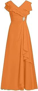 CladiyaDress Women V Neck Chiffon Rhinestones Long Bridesmaid Dresses Party Gowns D092LF