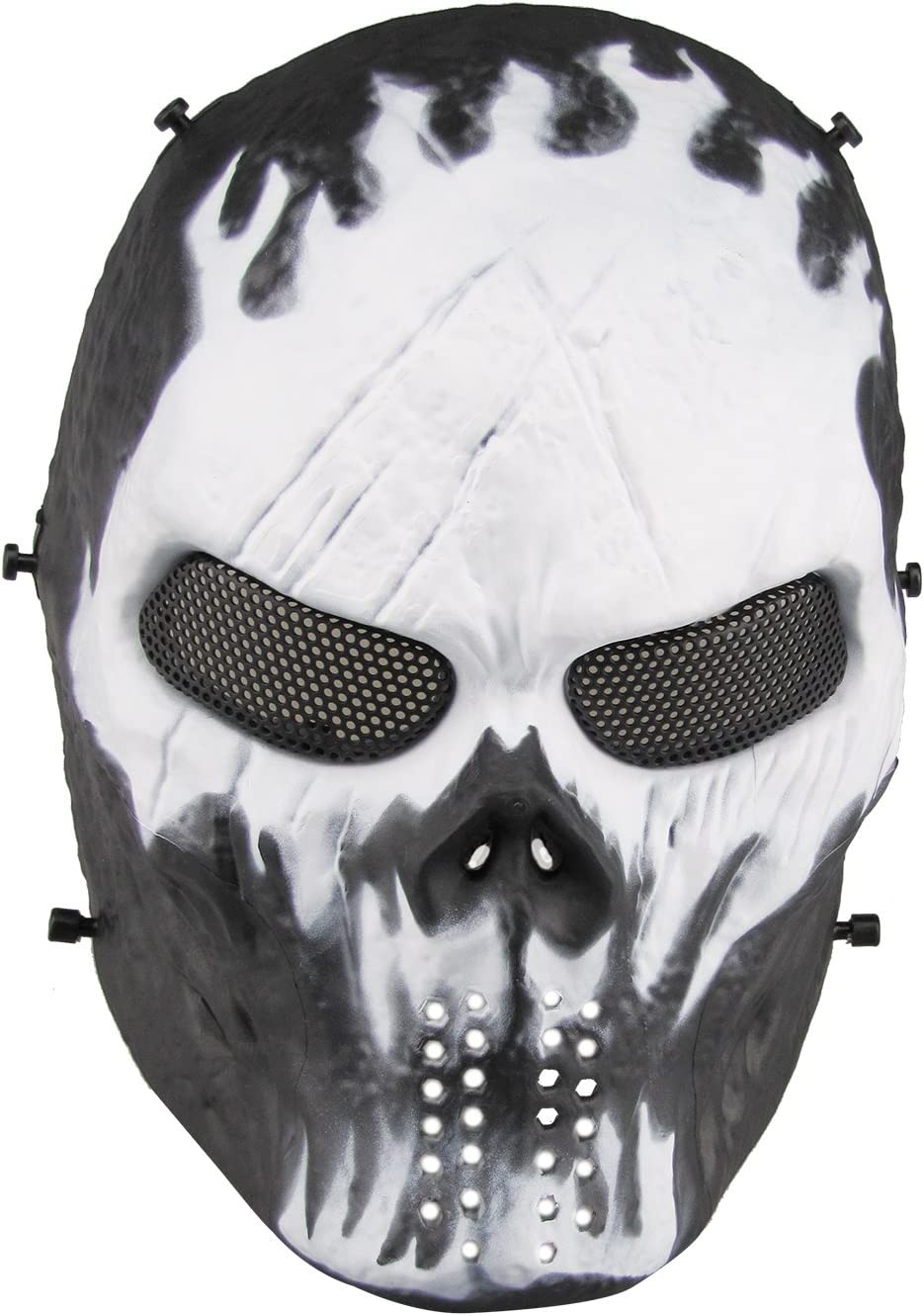 Aoutacc Máscara de calavera para airsoft, máscara táctica completa con malla de metal, protección para los ojos, máscaras, fiestas y Halloween, máscara de cráneo Cs War Game, BB Gun (Will-o'-The-wisp)