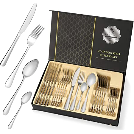 Silverware Sets, High Grade 24 Stainless Steel Flatware Cutlery Set Tableware Dinnerware Knives Set Silverware Utensils Set with Storage Box Ideal Gift for Home Kitchen Family Friends