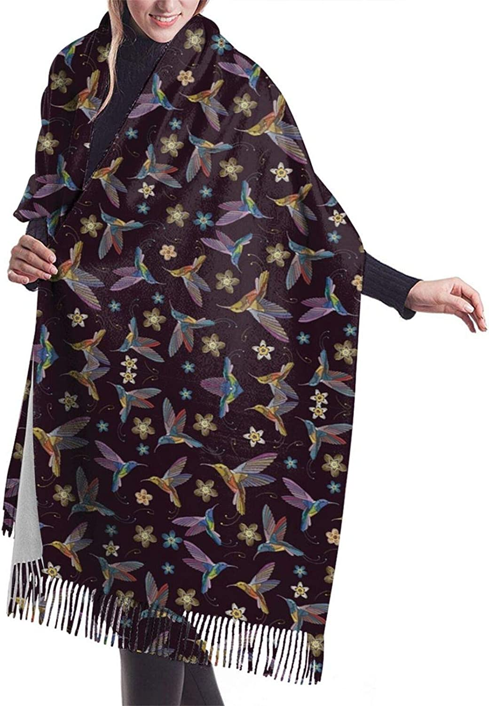 Hummingbird Flower Cashmere Feel Scarf Lightweight Soft Scarfs For Boys Girls Creative Warm Cold Weather Blanket Scarf