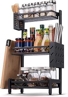 Organisateur de support d'épices, organisateur d'étagère d'armoire de cuisine, support de rangement amovible facile avec p...