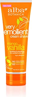 Alba Botanical Mango Vanilla Very Emollient Cream Shave, 8 Ounce Tubes (Pack of 4)