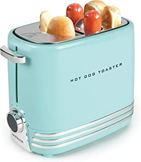Nostalgia HDT900AQ Pop-Up 2 Hot Dog and Bun Toaster With Mini Tongs, Works With Chicken, Turkey, Veggie Links, Sausages and Brats-Aqua