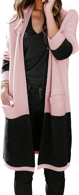 HZSONNE Women's Boho Color Block Pocketed Cardigan Blouse Duster Long Sleeve Knit Open Front Soft Stripe Sweater Coat