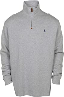 Polo Ralph Lauren Mens Half Zip French Rib Cotton Sweater (XX-Large, Grey Heather/Navy Pony)