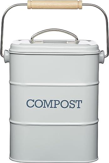 KitchenCraft Living Nostalgia Metall Küchen Bioabfallbehälter, Arbeitsplatte/Unterschrank Mini Kompostlager und Recycling Lebensmittelabfall…