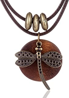 Coostuff Vintage Woman Jewelry Chokers Dragonfly Wood...