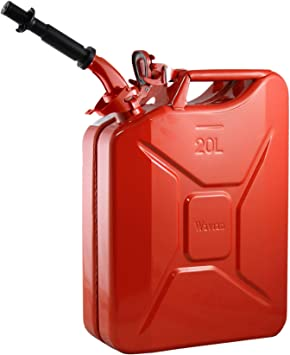 Wavian USA JC0020RVS Red Authentic NATO Jerry Fuel Can and Spout System (20 Liter): image