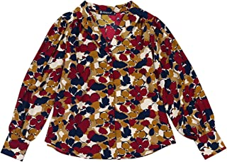 Allegra K Women's Floral Office V Neck Button Shirt Long Sleeve Loose Blouse