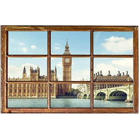 London City Skyline UK Stadtbild Wandtattoo WS-19496