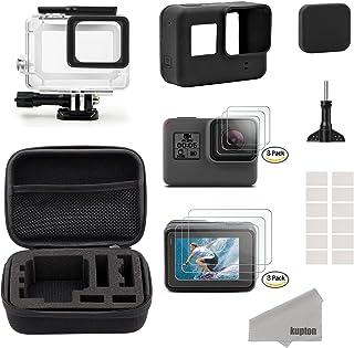 Kupton GoPro Hero7 Black/2018/6/5 Black para Accesorios Kit Estuche de Viaje Pequeño+Carcasa Case+Protector de Pantalla+Cubre Lente+Montura de Silicona para Go Pro Hero7 Black/2018/6/5