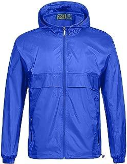 Men' Rain Suit Jacket Coat Waterproof Hooded Rainwear Lightweight Packable Raincoat for Travel
