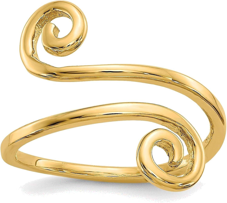 Bonyak Jewelry Swirl Toe Ring in 14K Yellow Gold in Size 11