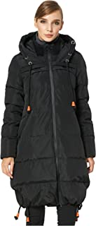 Orolay Women's Thickened Contrast Color Drawstring Down Jacket Hooded