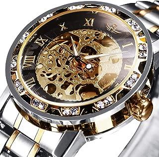 腕時計、メンズ腕時計 機械式 クラシック 高級 ファッション メカニカル ステンレススチールウォッチ スケルトン 自動巻き 防水 ホロー スチームパンク ドレス時計 ゴールド