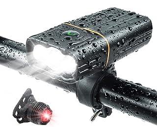 自転車 ライト LED 5200mAh 大容量 800ルーメン IPX5防水 防振 最大約33時間可能 モバイルバッテリー テールライト付き 3つ調光モード 自転車用ヘッドライト 懐中電灯 クロスバイク ロードバイク ライト USB充電式 軽量...