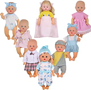 Dressbar 7pcs for 7'' 8'' 9'' 10'' 11'' Inch Baby Doll Clothes Swimsuit Bathrobe Reborn Newborn Outfits Costumes with Pillow Sheet Birthday Xmas Gift Wrap