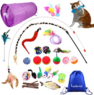 Koolbunjil Cat Toys Set for Indoor Cats Unique Variety with Extra Wands Assorted Collection 30PCS Cat Toy