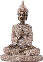 Fox Sandstone Meditation Sitting Buddha Statue, Seated Sculpture Hand Carved Figurine, Indoor Home Decoration Sandstone Bu...