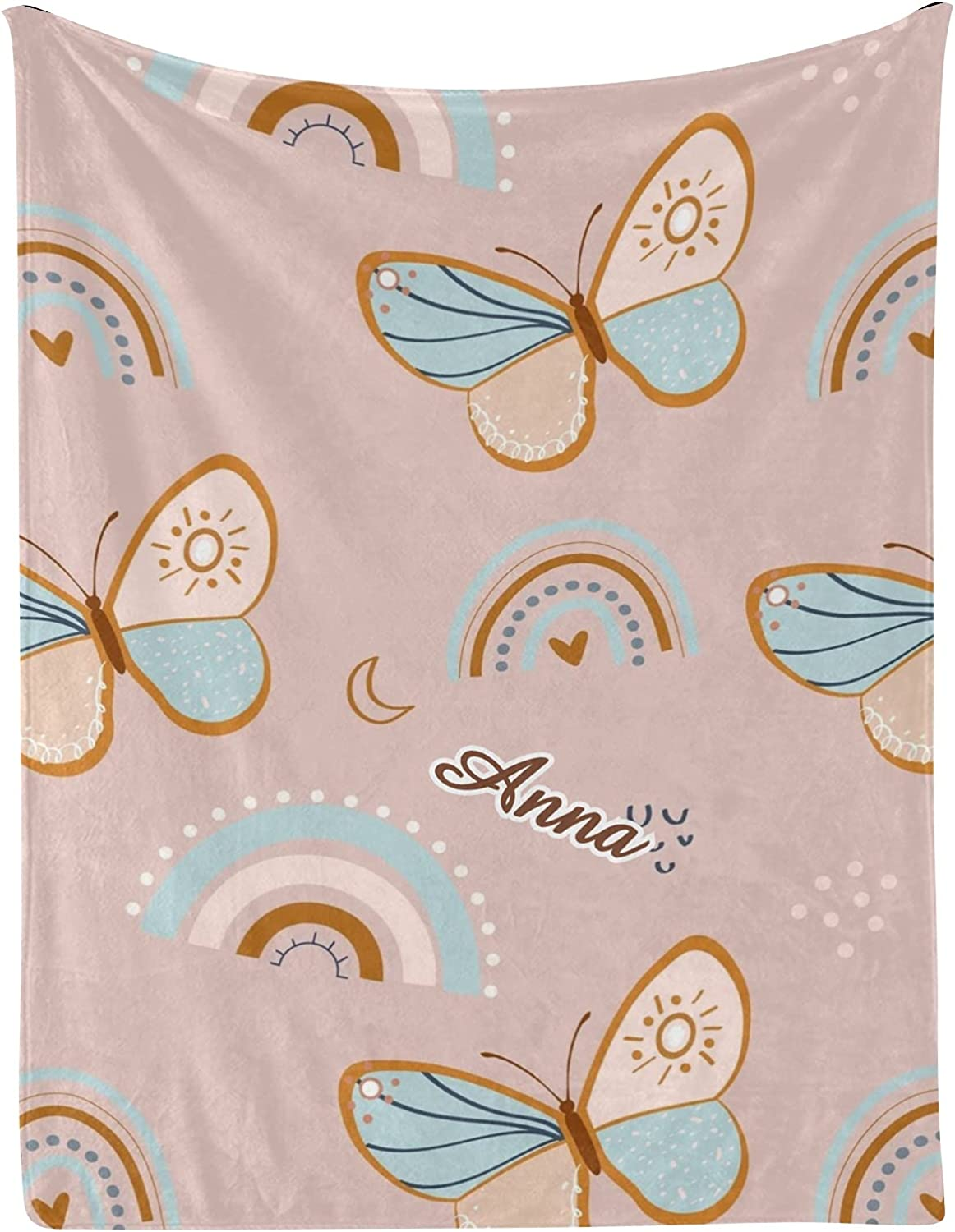 Butterfly Heart Rainbow Discount mail store order Moon Personalized Blankets Nam with Baby
