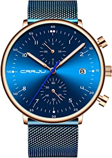 Mens Watches Fashion Causual Dress Quartz Analog Mesh Stainless Steel Chronograph Sport Wristwatch with Date Black/Blue/Silver/Rose