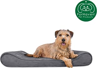 Furhaven Pet Dog Bed | Orthopedic Micro Velvet Ergonomic Luxe Lounger Cradle Mattress Contour Pet Bed w/ Removable Cover for Dogs & Cats - Available in Multiple Colors & Styles