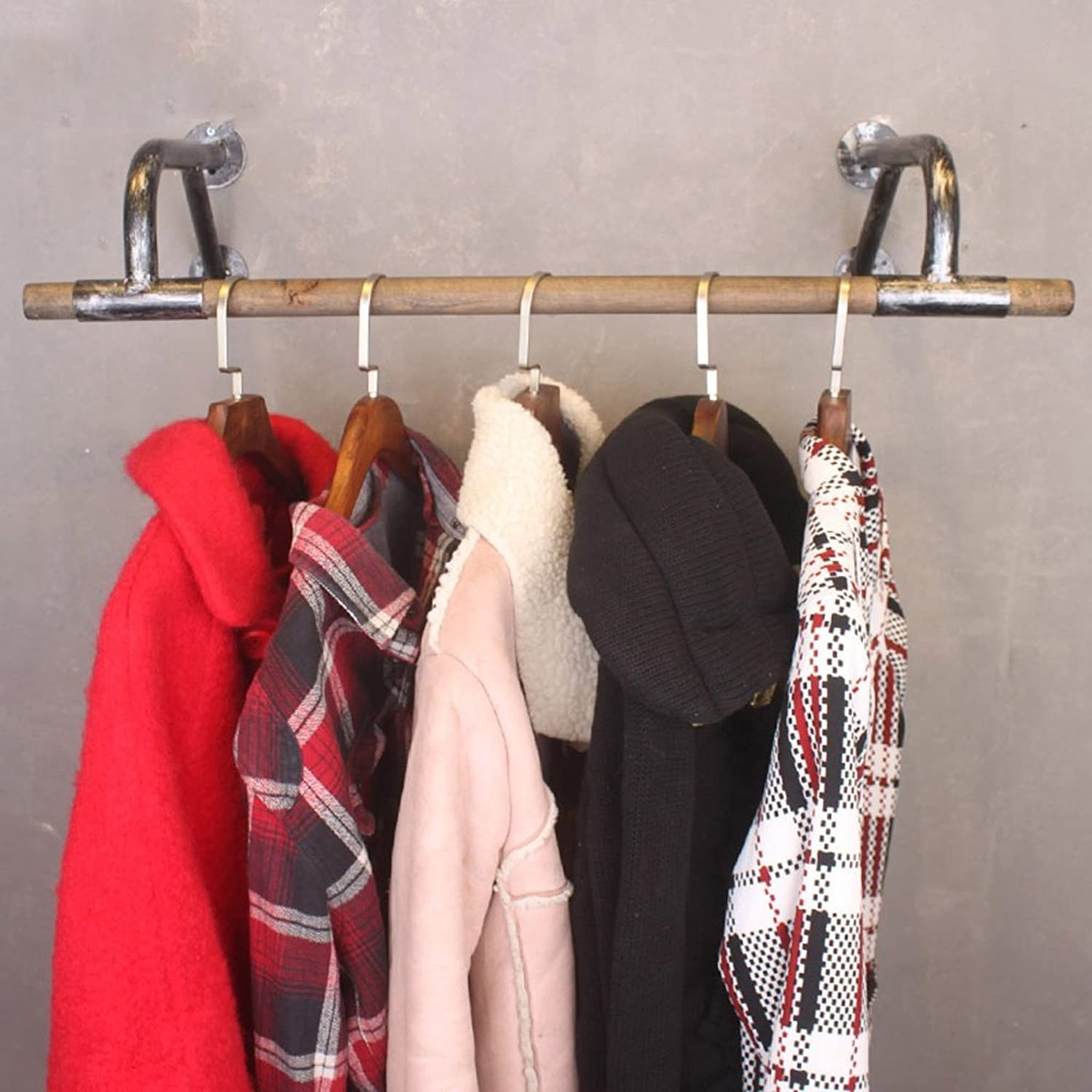 Solid Wood Wrought Iron Coat Rack Retro Combination Clothes Rack Hook Wall Hanging Frame Suitable for Living Room Bedroom Study is Durable Not Rusty Removable Ancient