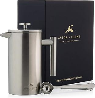 Astor & Kline Cafetière | Stor kapacitet fransk press kaffemaskin 0,8 liter | 6 kopp matt rostfritt stål isolerad kaffepre...