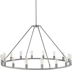 Sonoro Large 50 inch Round Dining Room Industrial Chandelier | Silver Kitchen Island Light Fixtures with LED Bulbs LL-CH5-50-1SIL