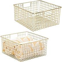 mDesign Metal Bathroom Storage Organizer Basket Bin - Farmhouse Decor, Grid Design - Organization for Cabinets, Shelves, C...