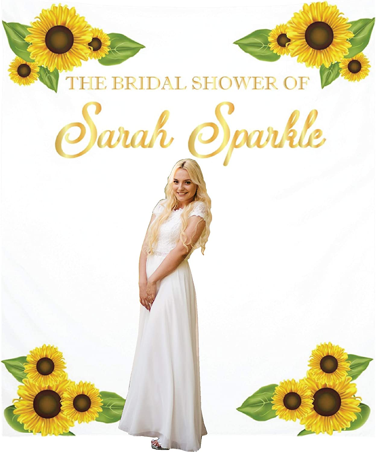 CUSTOM Wedding Backdrop Banner Floral Flower Tropical ANY TEXT Anniversary Engagement Bridal Shower Photo Booth Personal Background Sign