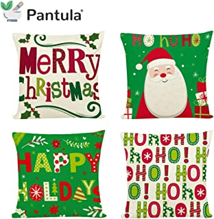 Pantula Christmas Pillow Covers 18 x 18 Pillowcase Xmas Throw Pillow Cover Farmhouse Set of 4 Decorations for Merry Christmas (Green Set)