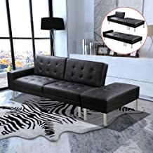 Festnight Sofa Bed with an Ottoman Artificial Leather Adjustable Cushion Tilt Office Decoration Comfortable and Elegant Lu...