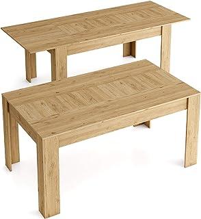 Skraut Home - Table de Salle a Manger de 140cm Extensible 200cm, Couleur Naturale Mat, Mesures: 90.4 Largeur x 140.4/200.4...