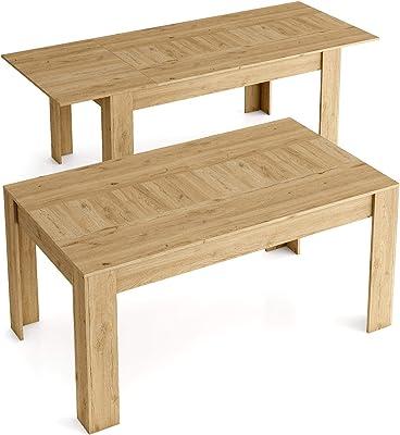 Skraut Home - Table de Salle a Manger de 140cm Extensible 200cm, Couleur Naturale Mat, Mesures: 90.4 Largeur x 140.4/200.4 Longueur 76.1 Hauteur