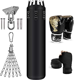 Odoland 6-In-1 Punching Bag Unfilled Set for Men and Women, 4FT Kick Boxing Heavy Bag with 12OZ Boxing Punching Gloves and...