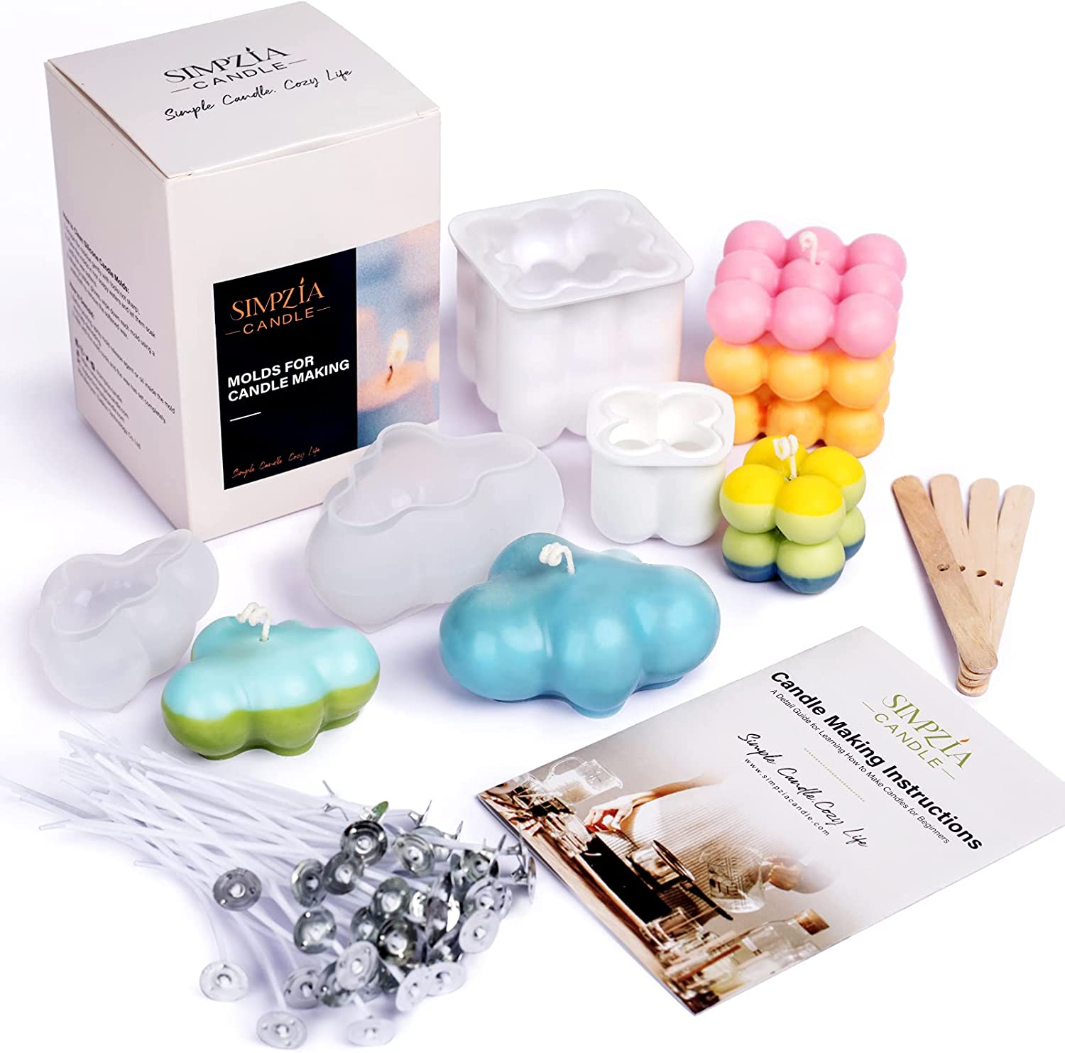 SIMPZIA Max 88% OFF Silicone Ranking TOP11 Candle Molds Including Making Supplies
