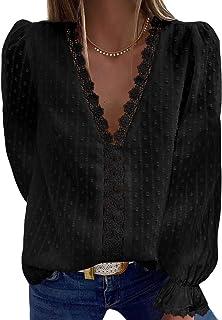 Diukia Women's Sexy Lace Crochet V Neck Puff Long Sleeve Blouses Casual Swiss Dot Pom Pom Shirts Blouse Tops