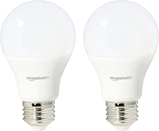 AmazonBasics 40 Watt Equivalent, Daylight, Non-Dimmable, A19 LED Light Bulb | 2-Pack