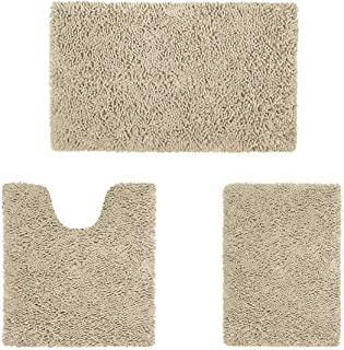 HOMEIDEAS 3 Pieces Bathroom Rugs Set Ultra Soft Non Slip and Absorbent Chenille Bath Rug,..