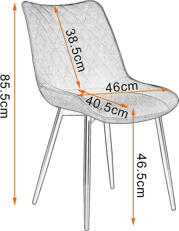 WOLTU 4 Chaises de Salle /à Manger en Tissu Scientifique et m/étal,Chaises de Salon Chaises de Cuisine Anthracite BH248an-4