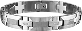 "Esquire Men's Jewelry 1/8 ct. t.w. Diamond Tungsten Link Bracelet, 8.50"""