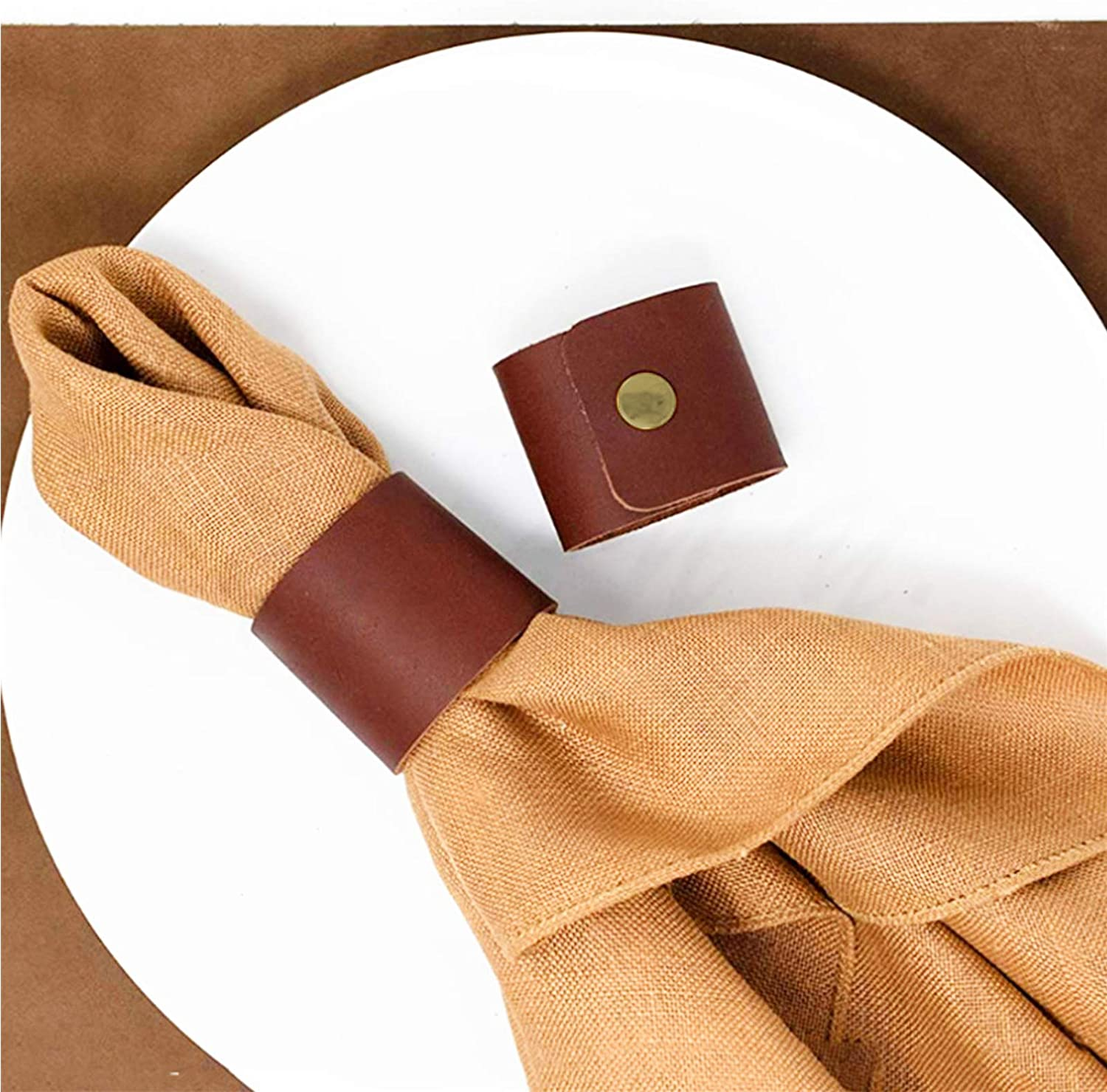 Max 44% OFF Leather Napkin Max 78% OFF Rings Set of 4 for Rustic Handmade Holder